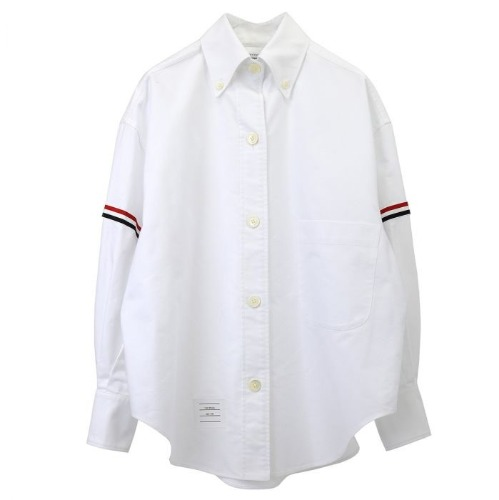 [Thom Browne] White Armband Supersized Cropped shirt