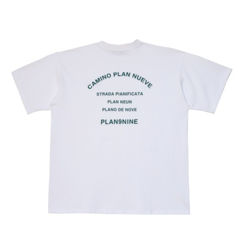 [PLAN9NINE] CAMINO OVERSIZE HALF T-SHIRT WHITE